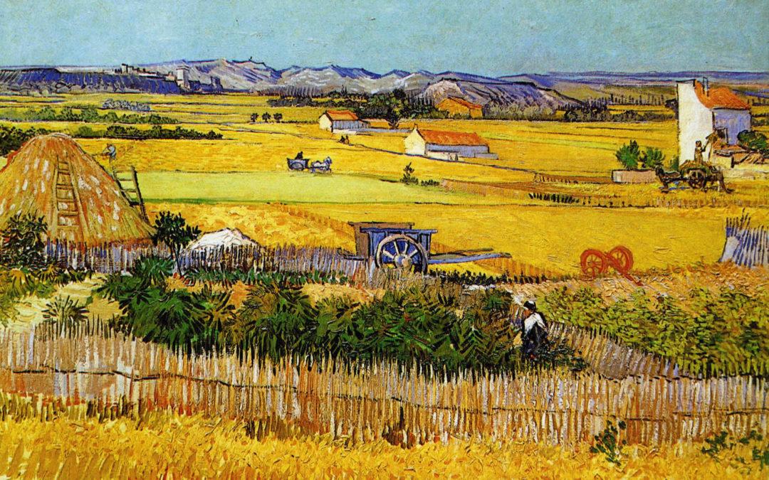 A Harvest Landscape with Blue Cart